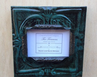 5 x 7 distressed antique turqouise tin ceiling tile picture frame