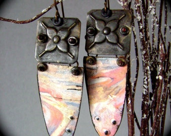 The Touch - Turkoman Goes Modern, upcycled tin earring, eco friendly, tin jewelry, recycled tin, hand earring, assemblage, AnvilArtifacts