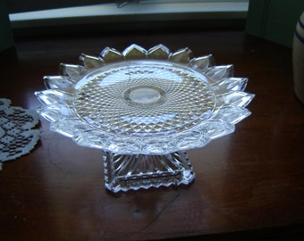 Vintage crystal Tiara pedestal plate 24 percent lead crystal by Godinger for Shannon Crystal wedding table decor gift serving dining
