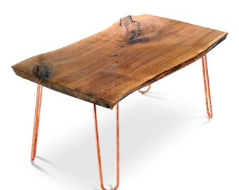 Live Edge Table with copper or brass hairpin legs. Mid century furniture. Reclaimed wood furniture.