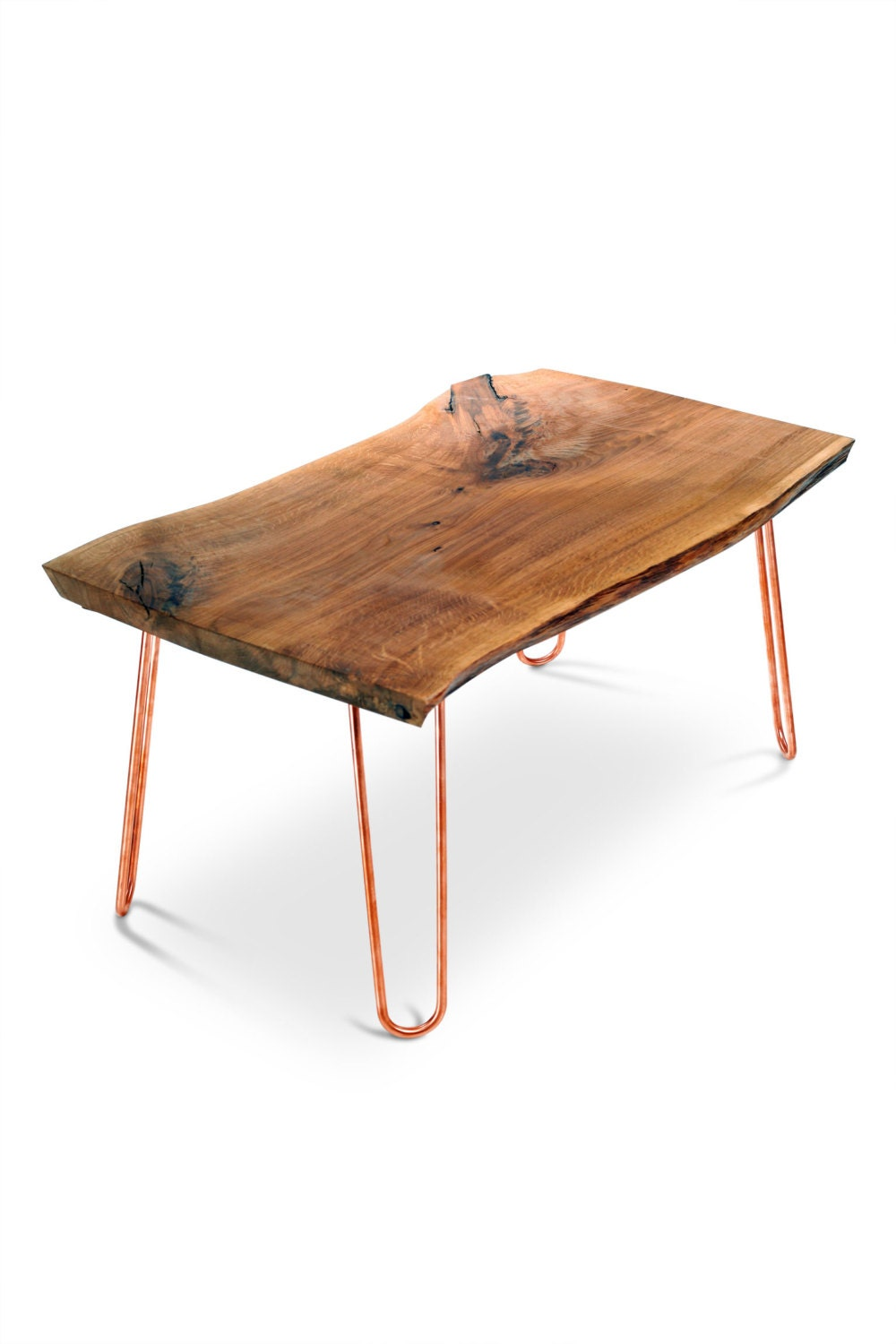 Live edge table with copper or brass hairpin legs mid century for Table y copper