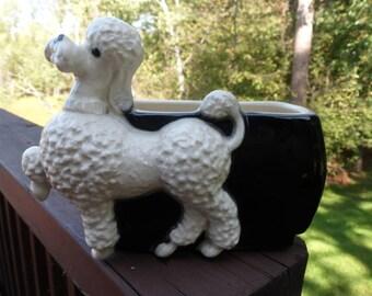 Royal Copley White Poodle Planter