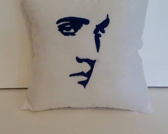 White and Navy Blue Elvis Pillow