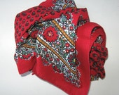 """Woman's Vintage French Red Valdrome Cotton Neck Scarf, Made in France, Les Olivides, Pierre Deux, 20 x 20"""", gift idea"""