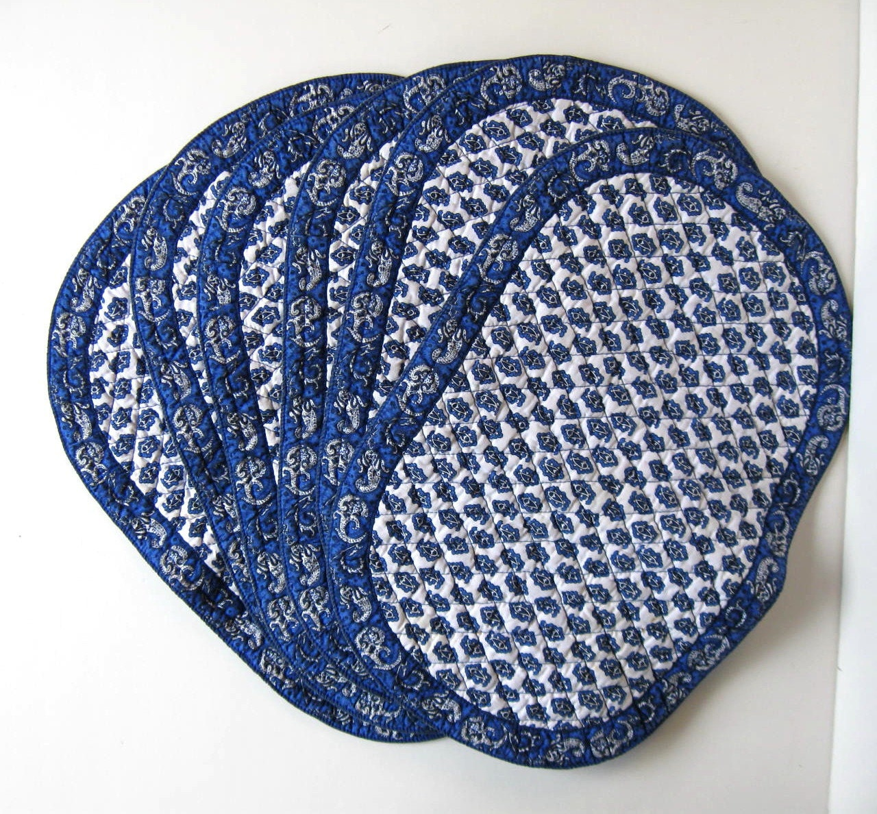 Set Of 6 Vintage French Valdrome Placemats Blue Oval Table