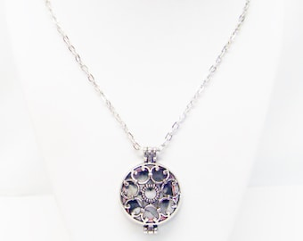 "24"" Round Silver Plated Open Filigree Locket Pendant Necklace"