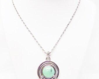 Glass Drop Accent Silver Encased Turquoise Pendant Necklace