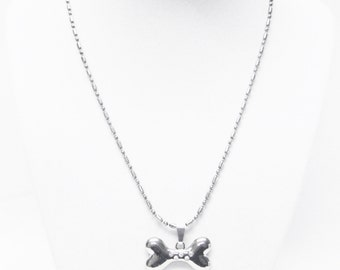 Silver Plated Bow Charm Necklace for Young Girl