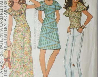 20% Off SALE Vintage 1970s BOHO HIPPIE Dress / 70s Bohemian Gypsy Dress / McCalls Pattern 4003 1970s Pattern Size 14 Bust 36 inches