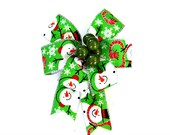 Snowman gift bow, Green Christmas berry gift bow, Gift bow for baskets and bags, Small bow for Christmas tree, Christmas in July bow (C476)