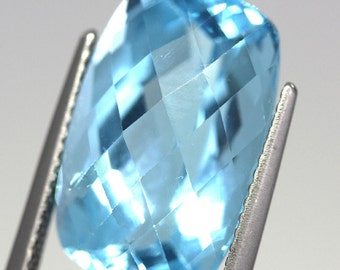 14.77 Carat Natural Swiss Blue Topaz Baguette