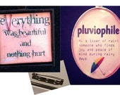 Vonnegut and pluviophile with brooch pins