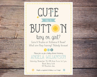 Cute As A Button Baby Shower Invite   Boy Or Girl Invite   Printable    Digital