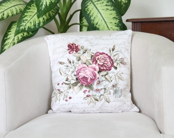 "16""x16""Roses Pillowcase, Floral Pillowcase, Flowers Pillow, Rose Pillow Cover, Shabby Shic Pillow Cover, Decorative Pillow Cover, Mum gift"