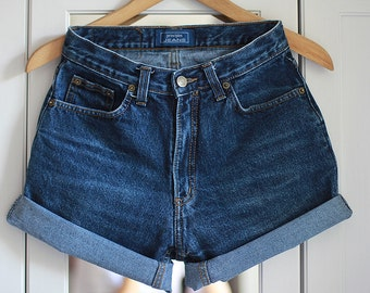 Cuffed Shorts High waisted Levi Denim Folded Rolled Turn Up Classic Jeans Medium Shorts Cut Off Vintage Wrangler Lee MADE TO ORDER