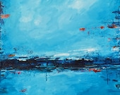 """Expressionist. Original large seascape oil painting """"Blue Serenity"""" 24"""" x 30"""" on canvas.  Wall art"""