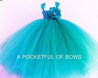 Turquoise Flower Girl Dress, Girls Long Tulle Dress, Girls Ball Gown