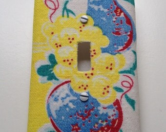 Decorative Light Switch Cover featuring Vintage Graphic Fabric