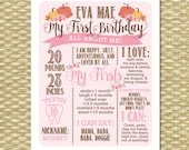 Little Pumpkin 1st Birthday Poster Birthday Sign All About Me First Birthday Poster