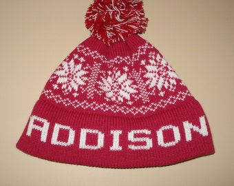 Personalized & Handmade knit hat - Addison, C.C., Addie Jane, Elle, or Waverly