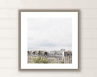 Paris rooftop square photo, paris photography, Paris architecture, french building, parisian, oversized large wall art, gift, Christmas