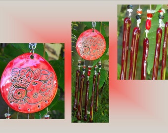 Red Glass Windchime, Mayan Art, Red Ceramic Wind Chime, Stained Glass Mobile, Garden Decor Suncatcher, Window Art, Pottery Art