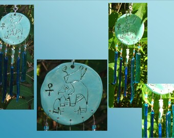 Egyptian Glass Windchime, Turquoise Ceramic Wind Chime, Horus Egyptian Art, Garden decor, Stained Glass Window Suncatcher, Pottery Mobile
