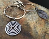 Hammered Sterling Silver Hoops with Dangling Copper Spirals