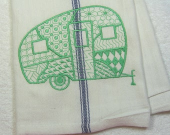 Camper Green Camper Embroidered Cotton Kitchen Towel Ready to Ship