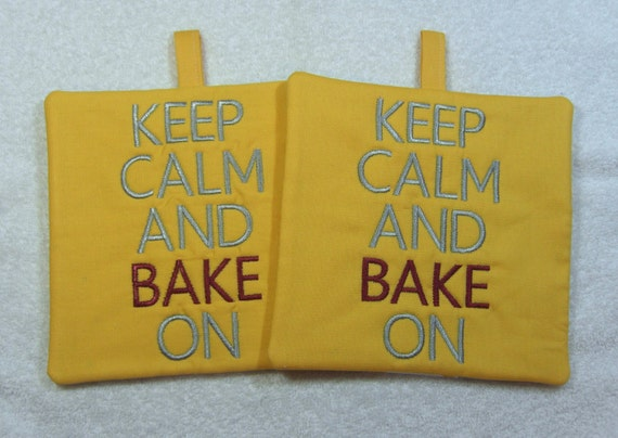Keep Calm and Bake On Embroidered Pot Holder Quilted Embroidered Hot Pad Set of 2 - Hot Pad/Pot Holders Trivet Ready to Ship