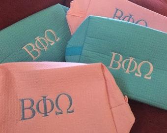 Set of 10 Sorority Waffle Cosmetic Toiletry Bags