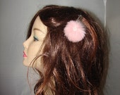 HP-8 2 Pieces Pink Rabbit & Faux Pearl Fur Ball Barrette Hairpiece Decorations Pin Gift Clip