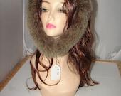 "R-89 Genuine Green Brown Fox fur Ruff Trim for Hood 31"""