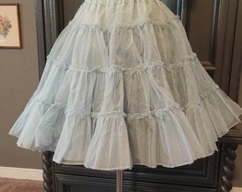 Vintage Powder Blue Crinoline Petticoat Slip