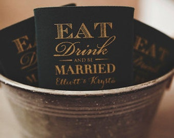 Eat Drink and Be Married Wedding Can Cooler, vintage style wedding favor, monogram wedding can coolie, art deco theme can cooler (200 qty)