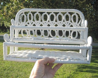Vintage White Wicker Wall Shelf with Metal Hooks two shelves, cottage chic, shabby style, victorian
