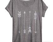 Womens Arrow Shirt - Oversized - Off Shoulder - Dolman - Vintage Clothing - Art - Ladies
