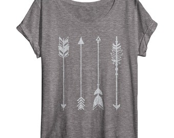 Womens Arrow Shirt - Oversized - Off Shoulder - Dolman - Vintage Clothing - Art - Ladies