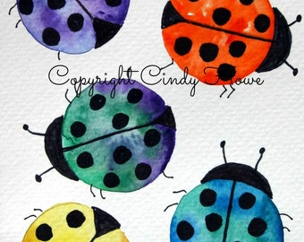 Greeting card, lady bugs,cards,  greeting cards, watercolor art, ladybug