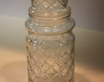 Vintage 1984 Planters Peanuts Jar With Lid Pressed Glass Advertising Mr Peanut Canister Container Jar