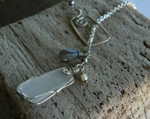 Gorgeous Genuine Sea Glass and Labradorite Lariat Necklace
