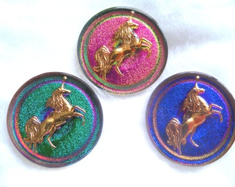 Czech  Glass  Buttons  3 pcs  Unicorn  Exclusive  design volcano 24K GOLD    31mm      IVA 031