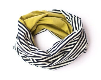 Toddler infinity scarf, circle scarf boy, striped organic jersey, kids scarf, loop scarf boy spring