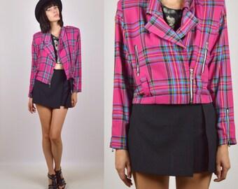 90's Pink Plaid Jacket Vintage Lightweight
