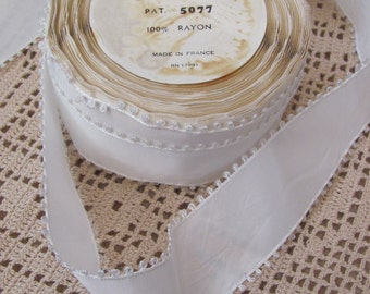 "Vintage White Rayon Satin Picot Ribbon // Made in France // 1.5"" Inch Wide // By The Yard #100A"