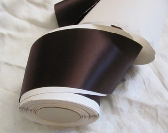"""Ribbon Antique Dark Brown Double Faced Satin Ribbon 3"""" Inch 75mm Wide - By the YARD (16B)"""