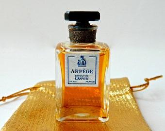 Vintage ARPEGE Lanvin Perfume Extrait de Parfum .50 oz (15 ml) Intaglio Black Crystal Stopper Full Gift Bag