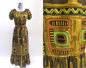 60's 70's Hawaiian Tiki Blouse And Maxi Skirt - Bark Cloth - Two Piece Outfit / Dress - It's Tiki Time!