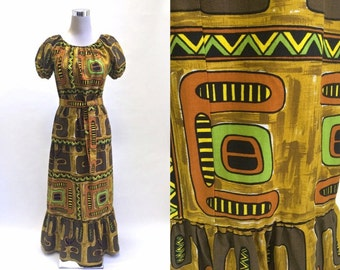 60's 70's Hawaiian Tiki Blouse And Maxi Skirt - 2 Piece Outfit - Brown Yellow Green Barkcloth - It's Tiki Time!