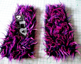 MADE TO ORDER Monster fur fluffies black, hot pink, & purple  Fuzzy Leg Warmers fluffy boot covers rave festival costume leggings